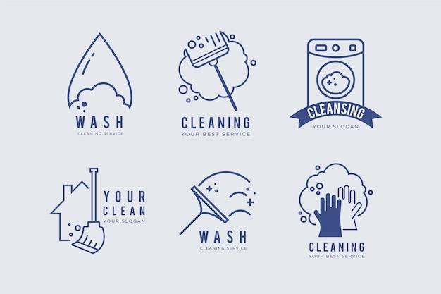 Conceito de coleção de logotipo de limpeza