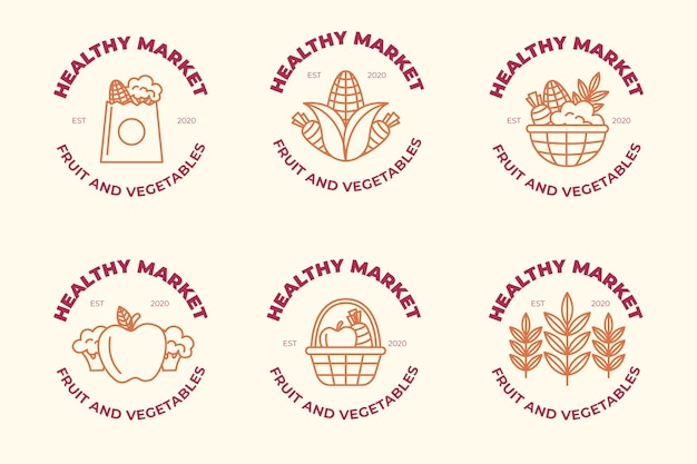 Conceito de coleção de logotipo de mercado