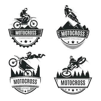 Conceito de coleção de logotipo de motocross
