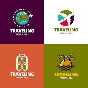 Conceito de coleção de logotipo de viagens
