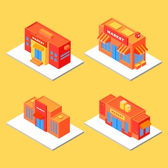 Conceito de coleção de loja isométrica