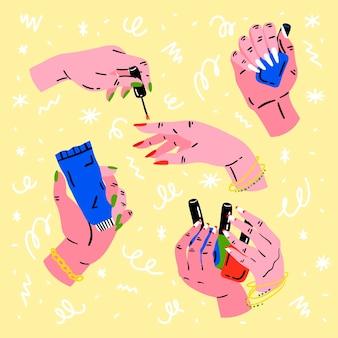 Conceito de coleção de mãos para manicure