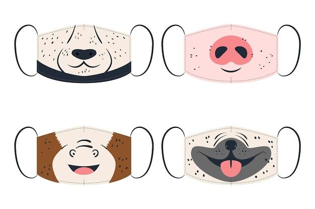 Conceito de coleção de máscara de rosto animal