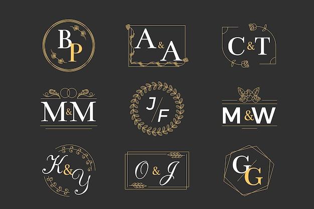 Conceito de coleção de monograma de casamento