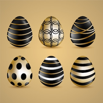 Conceito de coleção de ovo de dia de páscoa dourado