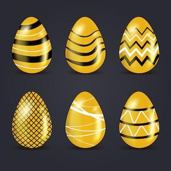Conceito de coleção de ovo de ouro de dia de páscoa
