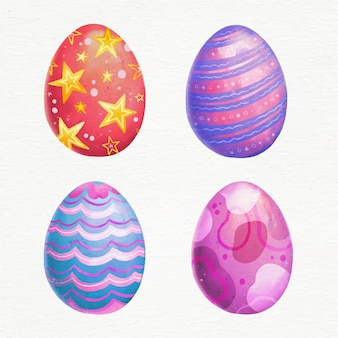 Conceito de coleção de ovos de páscoa em aquarela