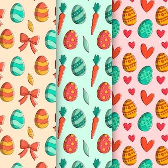 Conceito de coleção de padrão de dia de páscoa desenhados à mão