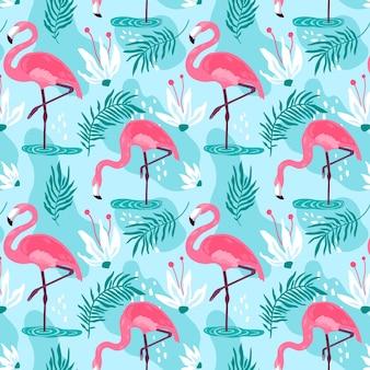Conceito de coleção de padrão de flamingo