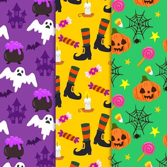 Conceito de coleção de padrão de halloween desenhados à mão