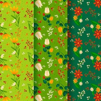 Conceito de coleção de padrão de primavera de design plano