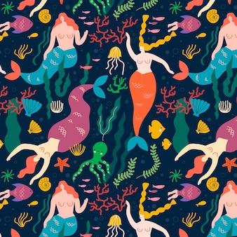 Conceito de coleção de padrão de sereia