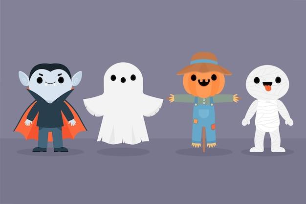 Conceito de coleção de personagens de halloween