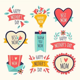 Conceito de coleção de rótulo de dia das mães de design plano