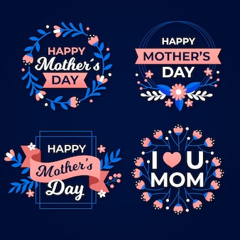 Conceito de coleção de rótulo de dia das mães