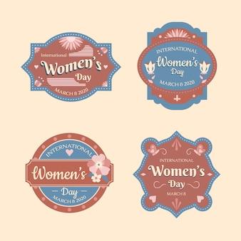 Conceito de coleção de rótulo de dia das mulheres vintage