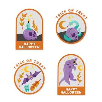 Conceito de coleção de rótulo de halloween desenhados à mão