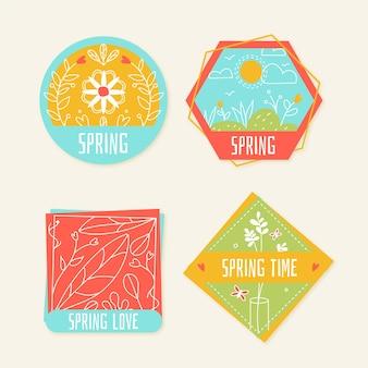 Conceito de coleção de rótulo primavera desenhados à mão
