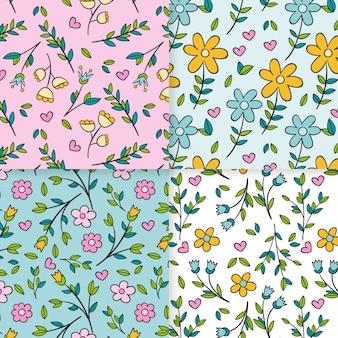 Conceito de coleção padrão primavera desenhados à mão