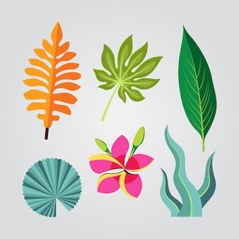 Conceito de coleção tropical de flores e folhas