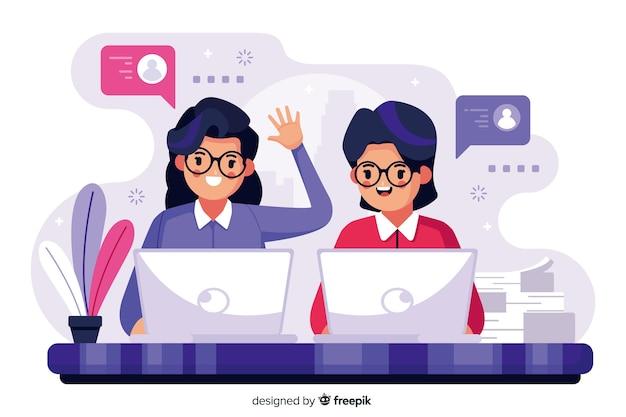 Conceito de colegas de trabalho para o modelo de página de destino