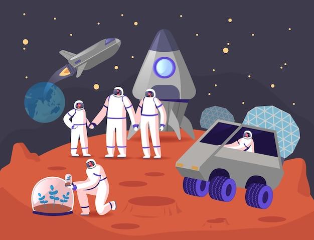 Conceito de colonização de marte. personagens da família de astronautas na superfície do planeta vermelho.