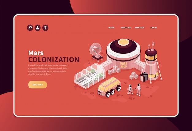 Conceito de colonização isométrica de marte banner design de página de site com links de texto editável e imagem de base exterrestrial