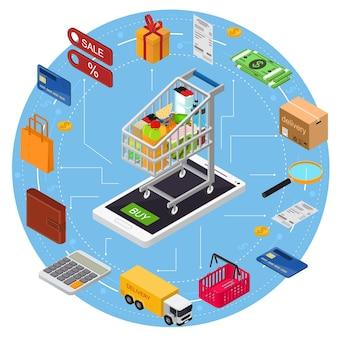 Conceito de comércio eletrônico com vista isométrica do serviço de tecnologia de compras de telefone móvel.