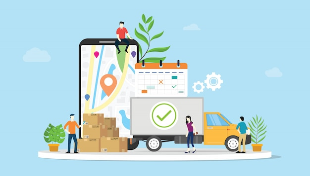 Conceito de comércio eletrônico de bens de entrega on-line com as pessoas da equipe