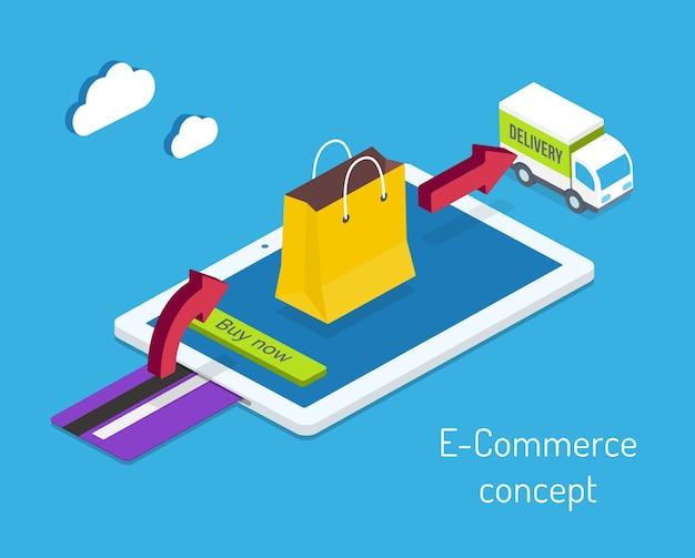 Conceito de comércio eletrônico ou de compras pela internet com um cartão de crédito para pagamento e uma seta apontando para uma sacola de compras