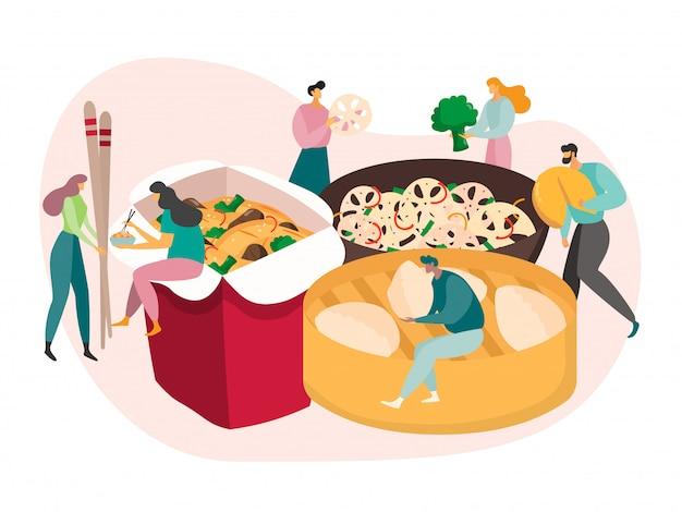 Conceito de comida chinesa, pessoas pequenas comem enorme refeição, entrega de lancheira, ilustração