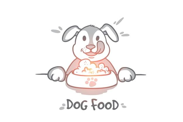 Conceito de comida de cachorro. desenho cachorro faminto atrás de um grande monte de comida. animal de estimação comendo ilustração isolada de comida.