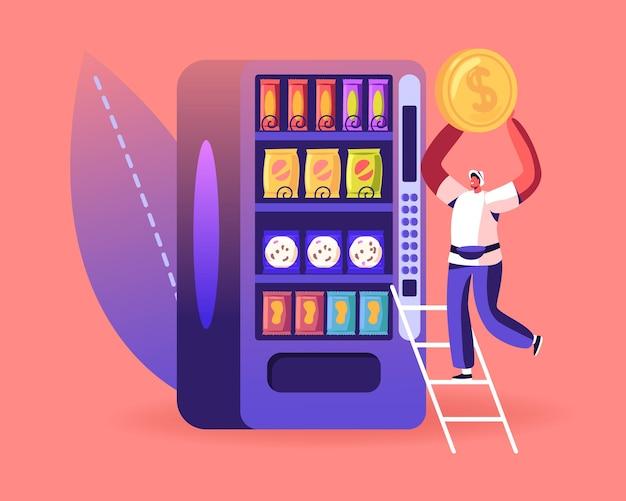 Conceito de comida de máquina de venda automática. ilustração plana dos desenhos animados