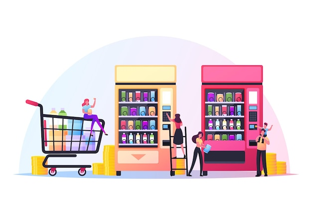Conceito de comida de máquina de venda automática. personagens minúsculos colocam moedas para comprar vários salgadinhos e batatas fritas da huge automate, tecnologia de varejo para vender produção de fastfood. ilustração em vetor desenho animado