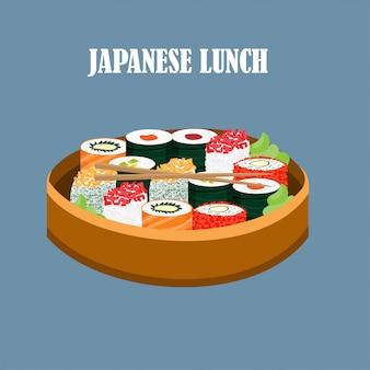 Conceito de comida japonesa colorida