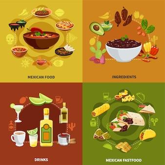 Conceito de comida mexicana com ingredientes para pratos tradicionais, sanduíches e petiscos nacionais, ilustração isolada de bebidas