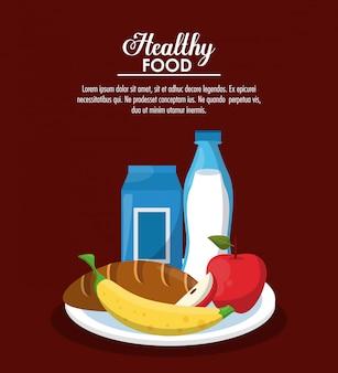Conceito de comida saudável com informações