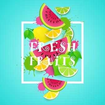 Conceito de comida saudável orgânica de ilustração de frutas frescas