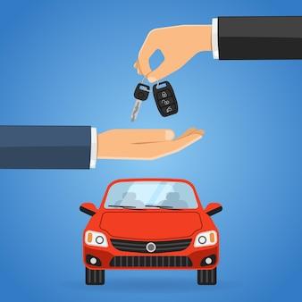 Conceito de compartilhamento de compra ou aluguel de carro