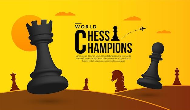 Conceito de competição de batalha de xadrez 3d de estratégia e gestão de negócios