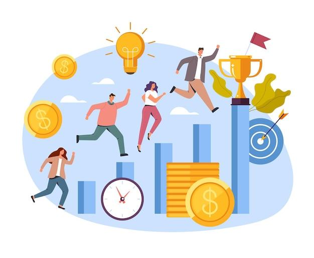 Conceito de competição de sucesso de carreira em escritórios de negócios, ilustração dos desenhos animados
