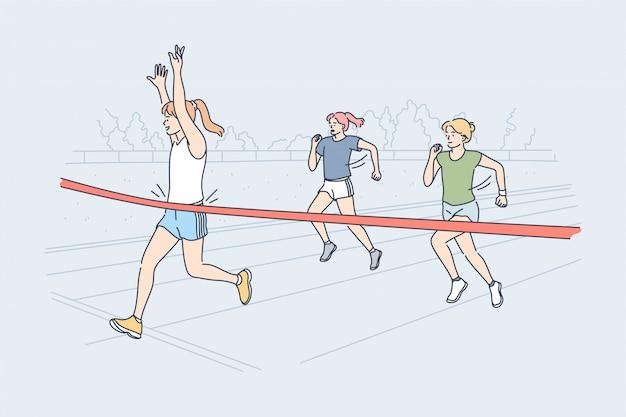 Conceito de competição de sucesso de vitória de esporte de corrida triunfo
