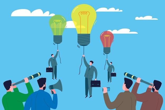 Conceito de competição empresarial. os empresários chegam ao topo com novas ideias e competem para ver quem será o primeiro a ter sucesso. patrocinadores, investidores e concorrentes os observam por meio de telescópios.