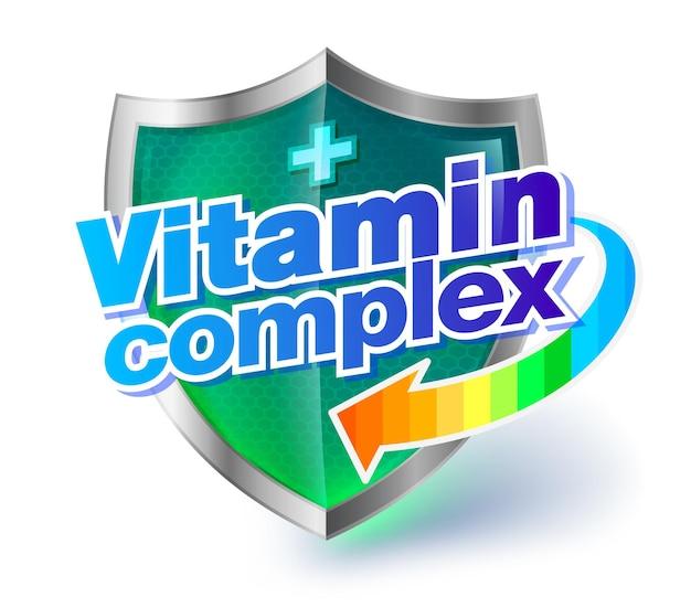 Conceito de complexo de vitaminas do escudo de saúde com escudo de cristal transparente verde âmbar