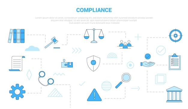 Conceito de compliance com banner de modelo de conjunto de ícones com ilustração em vetor moderno estilo de cor azul