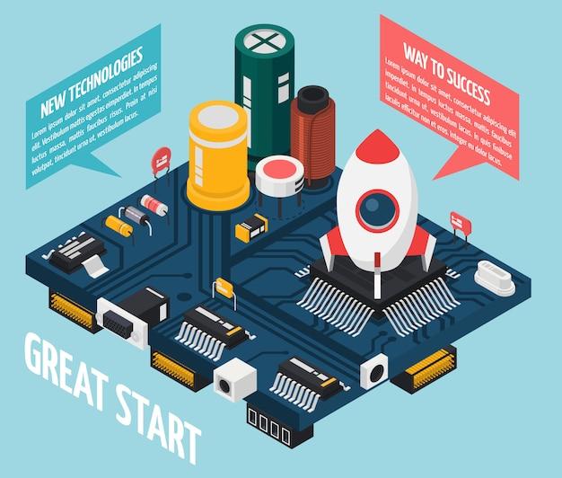 Conceito de componentes eletrônicos de semicondutores