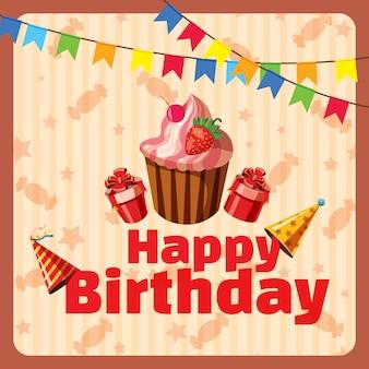 Conceito de composição de feliz aniversário, estilo cartoon