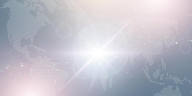 Conceito de composição de linha e ponto de mapa mundial
