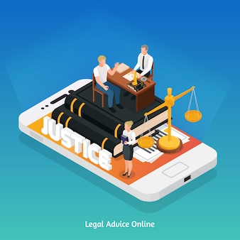 Conceito de composição isométrica de ícones de justiça lei com símbolos de telefone e justiça em cima de sua ilustração vetorial de tela
