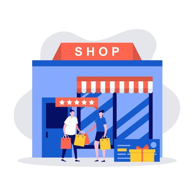 Conceito de compra com o jovem casal segurando sacolas de compras e em frente a uma loja.